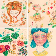 Carnaval. Denise Hermo / HUM. #flowers #indians #wild #illustration #painting