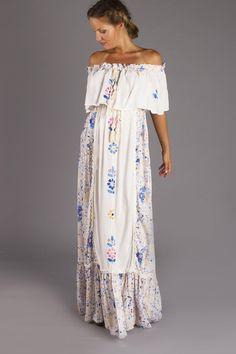 """Seeker Lover Keeper Nursing Dress"" Embroidered Nursing Maxi Dress - Floral"