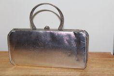 Vintage Retro Silver Evening Bag Chrome Handles by TreasuresFromUs