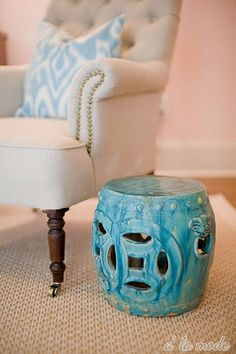 Bring this turquoise stool into your living room for a cute little end table & a lovely pop of color against neutral furniture. Turquoise Paint Colors, Turquoise Walls, Turquoise Accents, Pink Walls, Aqua, Ceramic Stool, Ceramic Garden Stools, Ceramic Table, Little Girl Bedrooms