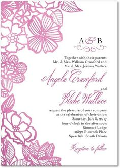 Lined Petals - Signature White Wedding Invitations - Coloring Cricket - Gunmetal - Gray : Front