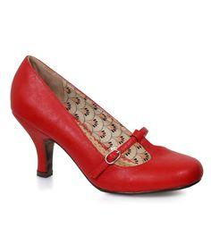 Red Round Toe T-Strap Cassie Heels