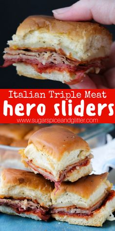 A delicious Italian hero slider recipe for a sandwich casserole your whole family will love! Meaty sandwiches perfect for lunch box prep Slider Sandwiches, Steak Sandwiches, Sandwiches For Dinner, Funeral Sandwiches, Italian Sandwiches, Appetizer Sandwiches, Sandwiches For Lunch, Appetizer Recipes, Dinner Recipes