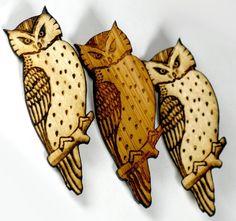 sweet owl brooch made of birch #TrilbyMade #birch #owl #woodland #handmade