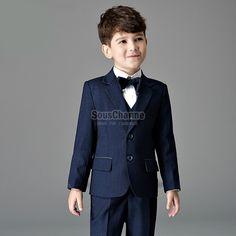 costume enfant cérémonie tenue de bapteme garçon pas cher couleur bleu  saphir avec 4 pièces 453920a8c74