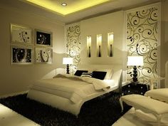Master Bedroom, white with black