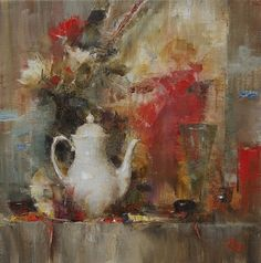Shelf with White Teapot by Laura Robb Oil ~ 11 x 11