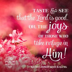 """""""O taste and see that the LORD is good: blessed is the man that trusteth in him."""" Psalm 34:8 KJV"""