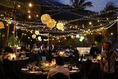 Garden wedding lighting idea. #HoiAnEventsWeddings #HoiAn #VietnamBeachWeddings