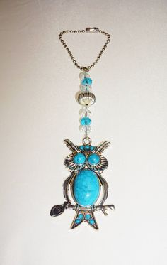 Owl Rear View Mirror Charm, Turquoise Car Suncatcher, One of a Kind, Ready To Ship, Free Shipping,  Unique Owl Gifts by EarthDreamsbySunLi on Etsy