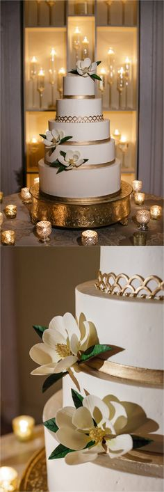 Gold and white cake with magnolia flowers Melissa's Fine Pastries How to transform an open ballroom with stunning decor Sapphire Events Greer G Photography Board of Trade White and Gold Wedding Winter Wedding Inspiration White and Green We Gold And White Cake, Magnolia Flower, Magnolia Cake, Magnolia Wedding, Winter Wedding Inspiration, Ballroom Wedding, 50th Wedding Anniversary, Wedding Flowers, Green Wedding