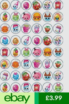 Decorations & Cake Toppers Home, Furniture & DIY Shopkins Bday, Shopkins Cake, Shopkins Colouring Pages, Paper Cupcake, Wafer Paper, Edible Rice Paper, Bottle Cap Crafts, Bottle Cap Images, Lol Dolls