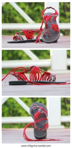 Sandals red and grey color