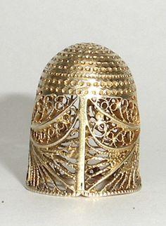 thimbles | fine 18th Century silver gilt filigree thimble in its ...