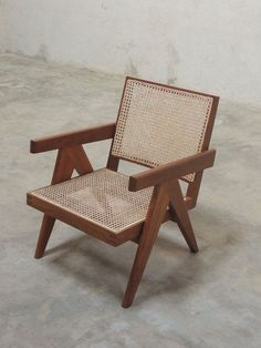 Teak and Cane armchair, Pierre Jeanneret, around 1955 for Chandigarh, India. Pierre Jeanneret, Cane Furniture, Rattan Furniture, Plywood Furniture, Furniture Stores, Furniture Upholstery, Furniture Market, Furniture Outlet, Chandigarh