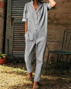 Contracted Temperament Pure Colour Button Jumpsuits - The contracted temperament pure color button jumpsuit with pocket is a good choice of fashion and you will love it in summer. Source by cutestreetwear - Jumpsuit Outfit, Casual Jumpsuit, Latest Fashion Design, Latest Fashion Clothes, Long Jumpsuits, Jumpsuits For Women, Types Of Sleeves, Lounge Wear, Online Shopping