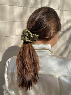 A silk scrunchy for your hair. Made out of soft silk satin and with firm elastic inside. All our scrunchies are made of real silk so they are sleek and gentle on damaged hair. Silk Hair, Popular Hairstyles, Tied Up Hairstyles, Pretty Hairstyles, Haircuts With Bangs, Blonde Balayage, Damaged Hair, About Hair, Hair Ties