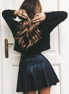 #fall #outfits / black knit + leather skirt
