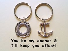 Anchor & Life Saver Keychain Set, Couple Key Ring Gift, Husband Wife, Girlfriend Boyfriend, Best Friends, Monogram Initial Option, Gift Ideas, Anniversary Gift Ideas