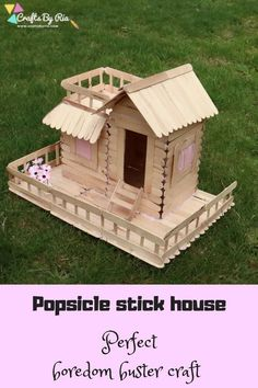 DIY Popsicle stick house to develop the math and engineering skills of kids. This DIY craft with icecream sticks is a fantastic boredom buster project for teens, tweens and adults.