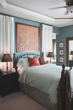 Blue, red, brown bedroom color scheme