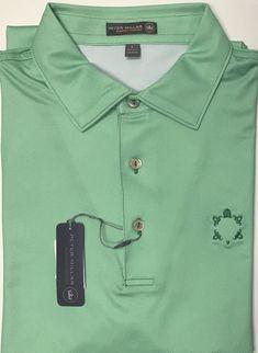 New Peter Millar E4 Summer Comfort Green Compass Logo Golf Polo Shirt Size L  | eBay