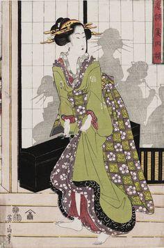 "thekimonogallery: "" An Array of Fashionable Beauties. Woodblock print, Japan, by artist Kikugawa Eizan "" Japanese Art Modern, Ancient Japanese Art, Japanese Art Prints, Japanese Drawings, Japanese Folklore, Japanese Artwork, Japanese Patterns, Japanese Art Samurai, Mughal Miniature Paintings"