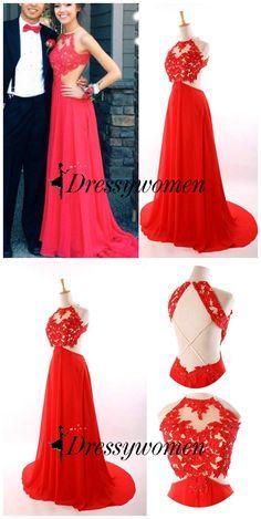 prom dress, 2016 prom dress, Christmas party dress, evening dress, graduation dress, red prom dress, backless prom dress