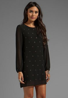 LUCCA COUTURE Grommet Long Sleeve Dress in Black - Long Sleeve
