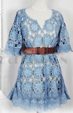Платье крючком VINTAGE 70s CROCHET DRESS LACE #crochet_dress