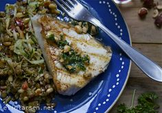 Stekt breiflabbkoteletter med persillesmør Fish, Meat, Chicken, Pisces, Cubs