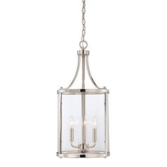 """Penrose Chrome And Polished Nickel Three Light Foyer Pendant Savoy House Lantern Pendant L 12"""" wide For Jil Sonia Interior Designs client Chilliwack, BC"""