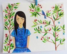 La Chica de China. ACUARELA ORIGINAL. AcuarelaEspaña. Retratos en acuarela. Retrato. Flores en acuarela.Dibujo de plantas.Dibujo de mujeres de ElCuadernoDeNacar en Etsy