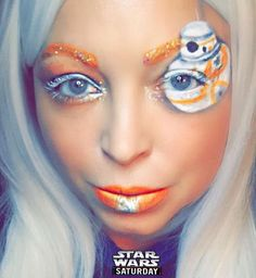 Star Wars Saturday repost - Also how gorgeous is she!!!!! I'm so thrilled we are friends!!!! - - @tiff_tantrum To start off my Force Awakens countdown I did this BB-8 inspired makeup. In less than an hour it will be 5 more days!! For this look I used @mehronmakeup Paradise AQ paints and Metallic Silver powder @lunatick_cosmetic_labs Hocus Pocus palette @wetnwildbeauty tunnel vision palette and @litcosmetics glitter in Cher. . #BB8 #starwars #forceawakens #droid #makeup #makeupart #dupemag…