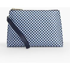 Talbots Women's Gingham Pebbled Leather Wristlet (1515 TWD) ❤ liked on Polyvore featuring bags, handbags, clutches, blue clutches, wristlet clutches, evening purses, blue purse and evening clutches