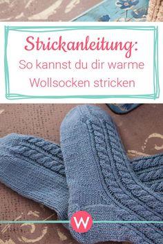 Für kuschelig warme Füße sind diese Wollsocken bestens geeignet. #stricken #wollsocken #sockenstricken