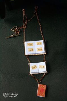 Book lover gift. Read necklace. Book jewelry. Paper necklace. Copper heart. One of a kind - pinned by pin4etsy.com