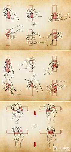 其实握东西的手型取决于握东西的姿势和所握...