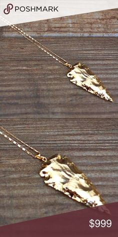 """LARGE 18K GOLD PLATTED ARROW ON A 30"""" CHAIN. Another stunning piece by Function & Fringe, large 18k gold plated plated arrow on a 30"""" chain. """"Unique fine jewelry that appeals to all free spirits"""". Their collection is inspired by """"All things bohemian, capturing a little of the beach, a bit of magic, and a whole lot of soul"""". (Function & Fringe). Shawna Behrens, the creator and designer of F&F, is in this months  issue of Redbook magazine and on the cover of redbookmag.com No trades. Thanks…"""