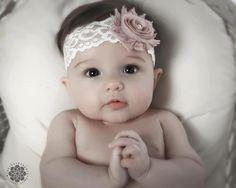 Shabby flower headband. Newborn, toddler, baby girl, little girl bow Dusty Rose Vintage Pink Ivory Lace