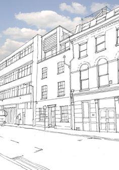 Mixed use conversion & extension, Shoreditch, London EC2, Pitman Tozer Architects - sketch