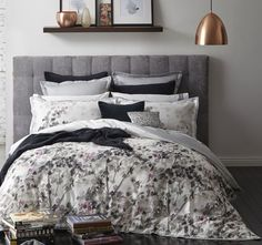 Melia Plum Quilt Cover Set by Royal Doulton Home, Furnishings, House Inspiration, Bed, Furniture, Beautiful Bedding, Linen Bedding, Royal Doulton, Superking Bed