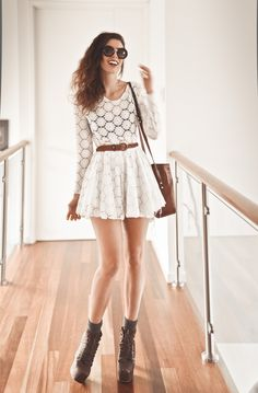 White lace dress, it should be at the nee
