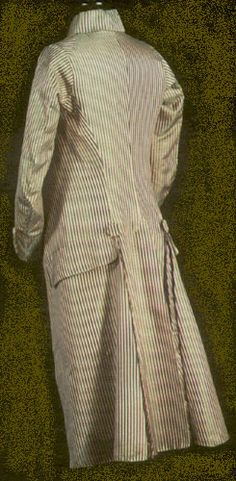 1793: The redingote, [or frock coat] inspired by English riding clothes, was the new fashionable cut for men's informal coats, and its dashing look was soon adopted by the most stylish Frenchwomen as well. This example, with its typical downturned collar and self-fabric buttons, was worn by a French nobleman, the marquis de Monitny, who was guillotined in 1793