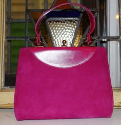 1960's Vintage La Velle of California Purse Clutch Suede Pink and Leather! Handbag!