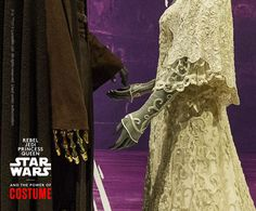 "Two very handsomely dressed mannequins in ""Rebel, Jedi, Princess, Queen: Star Wars™ and the Power of Costume"" replicate the intimate wedding scene between Anakin Skywalker and Padmé Amidala in the film ""Attack of the Clones."" Annakin's gold hand is held in place using a special mount at the shoulder, screwed into the mannequin.  #StarWarsCostumes #CostumeDesign #StarWars #Costumes #VintageWeddingDresses #WeddingDresses http://www.powerofcostume.si.edu"