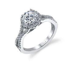 Venetti, 2/5ct tdw diamonds mounted on 14K white gold semi mounted size 7