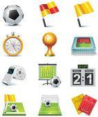 Vector soccer icon set — Vetor de Stock