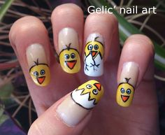 Gelic nail art: Easter chicken funky french nail art