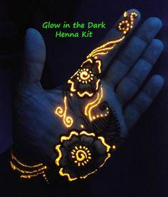 Glow in the Dark Henna Kit -  Mehndi, bridal, gift for her, cool, teens, girlfriend, geek, rave, birthday